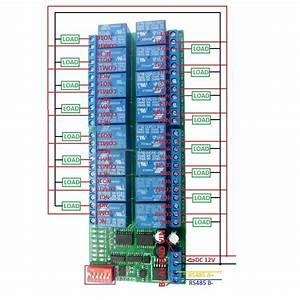 16ch Modbus Rtu Rs485 Relay Module Switch Board Plc