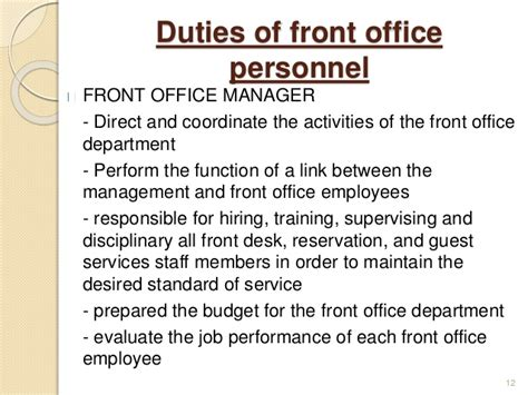 front desk officer duties and responsibilities introduction to front office