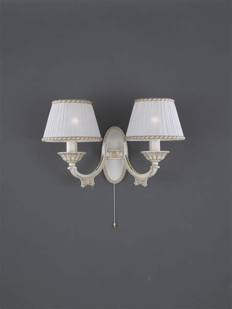 2 lights old white brass wall sconce with l shades