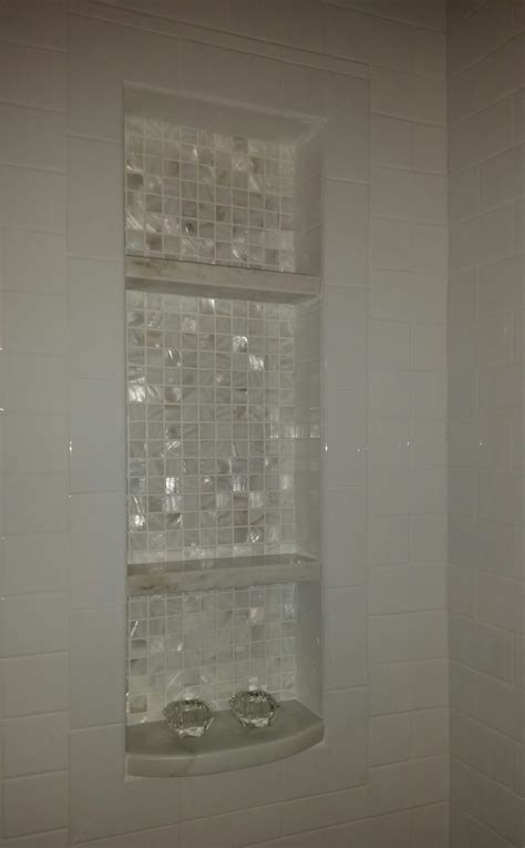 marble shelf for shower we added this niche to the tub shower combo the shelves are calcutta marble and the backdrop is