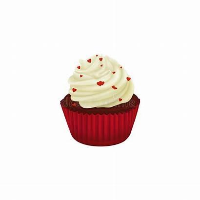 Velvet Cupcake Decorated Hearts Background Illustration