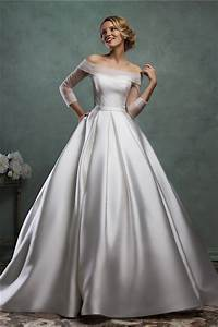 simple ball gown off the shoulder satin tulle sleeve With simple off the shoulder wedding dresses