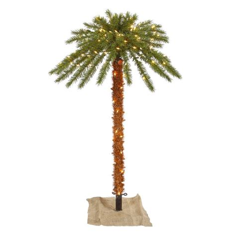 shop vickerman 4 ft pre lit palm slim artificial christmas