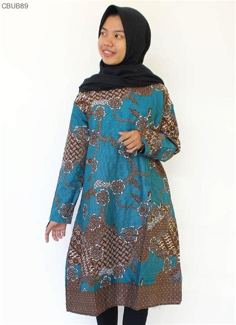 dress tunik batik katun motif sekar anom tosca dress