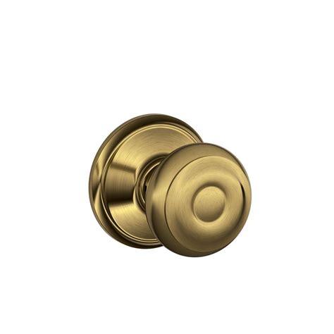 schlage door knob schlage georgian antique brass passage closet door