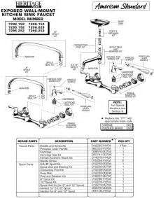 kitchen sink faucet parts diagram plumbingwarehouse american standard repair parts for model 7292 faucets