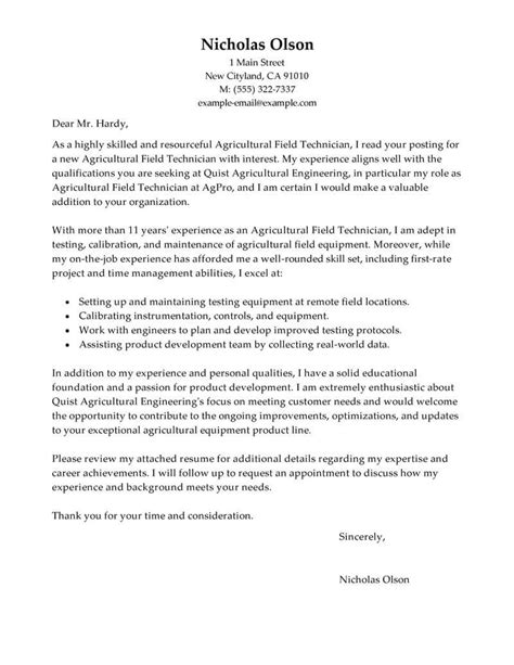 field technician cover letter examples livecareer