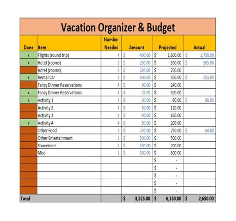 travel budget template 9 vacation budget template free sle exle format free premium templates
