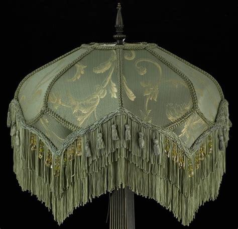 plain jane l shades victorian lampshade sage gold silk fabric beads fringe