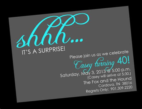 surprise birthday invitation templates  sample