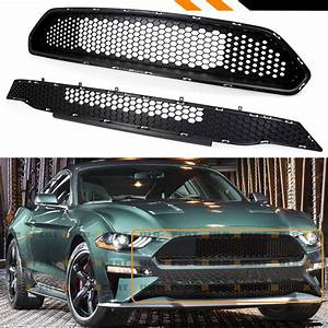For 18-19 Ford Mustang Bullitt Style Textured Blk Honeycomb Upper + Lower Grille | eBay