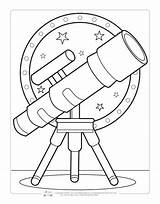 Coloring Space Pages Printable Sheets Telescope Fun Itsybitsyfun Activity Printables Books Colouring Children Solar System Toddlers Spaceship Planet Ausmalbilder Astronaut sketch template
