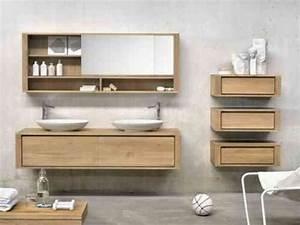 Idée Meuble Salle De Bain : id e d coration salle de bain meuble salle de bains en bois armoire miroir ~ Teatrodelosmanantiales.com Idées de Décoration