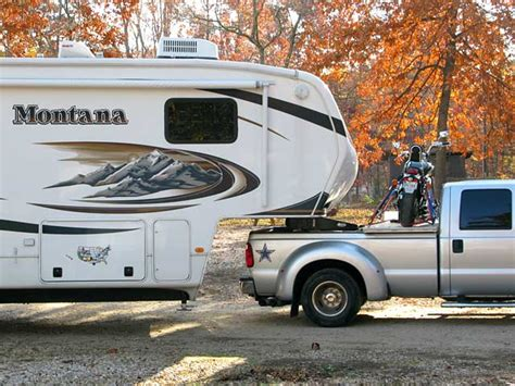 Rver Uses Winch For Motorcycle Fifth Wheel Trailer Towing Rig