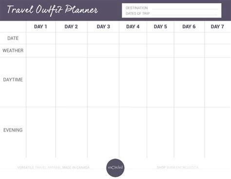 FREE Travel Outfit Planner u2013 Encircled.ca