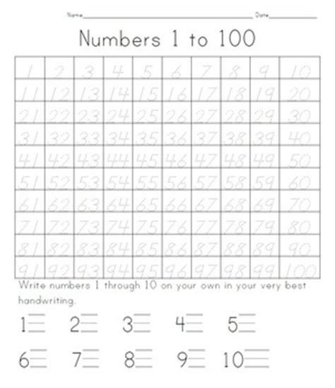100 days of school tracing numbers 1 to 100 by