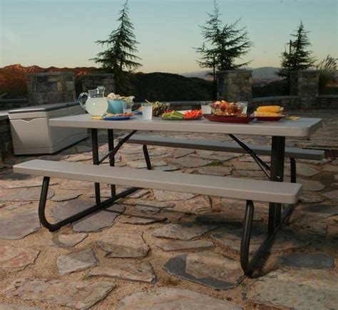 lifetime   foot folding picnic table bench  putty