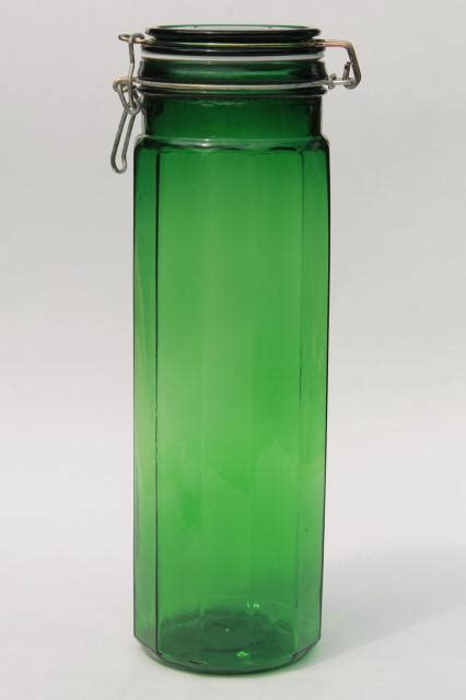 green glass canisters kitchen vintage emerald green glass kitchen canister 3985
