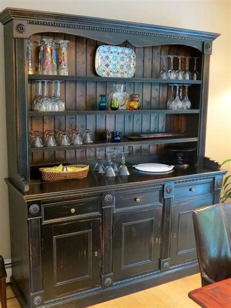 kitchen hutch furniture crafted custom black rustic china cabinet from