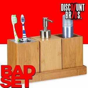 Bad Set Accessoires : bambus waschtisch bad set bad accessoires set 4tlg haushalt bad wc ~ Whattoseeinmadrid.com Haus und Dekorationen