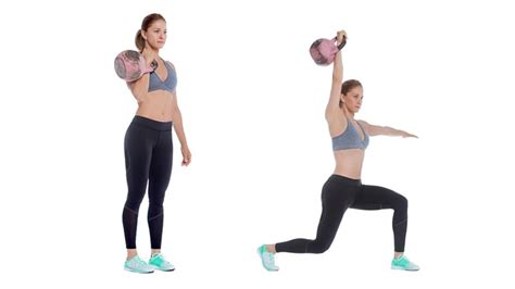 kettlebell bell lunge press kettle swing leg workout exercises drive does overhead legs lunges fitness benefits exercise chest quick arms