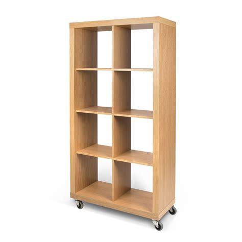 etagere a roulettes pour bibliotheque etag 232 re 8 niches en bois sur roulettes l86 cm rolly ch 234 ne
