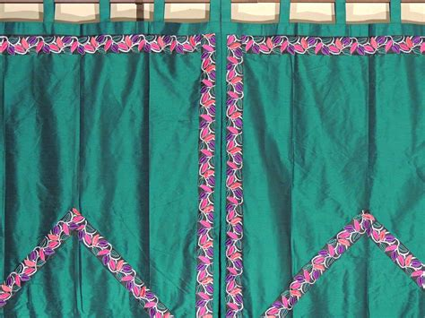 Green Trellis Fine Embroidered Curtains-elegant Indian