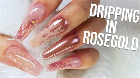 Dripping In Rose Gold Chrome Nail Design