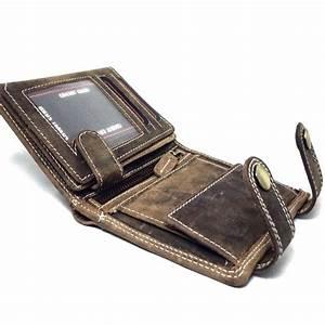 e101c362eced7 herren leder geldb rse im hochformat mit kette braune brieftasche herren  portemonnaie voll leder