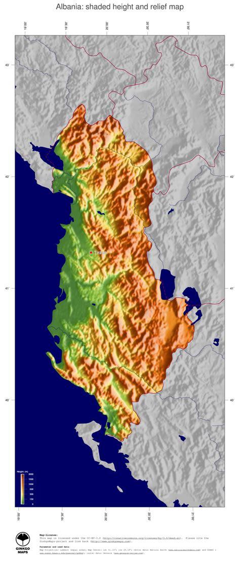 map albania ginkgomaps continent europe region albania
