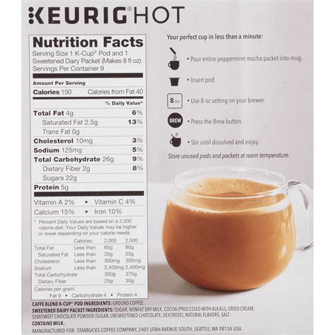 How many calories are in caramel k cup? Starbucks Caramel Coffee Keurig Nutrition | Besto Blog
