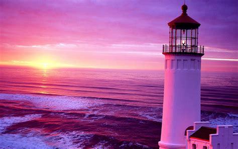 Beautiful Sunset Lighthouse Wallpapers Hd / Desktop And