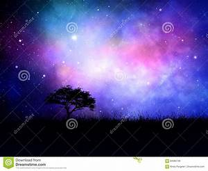 3D Silhouetted Tree Landscape Against A Nebula Night Sky ...