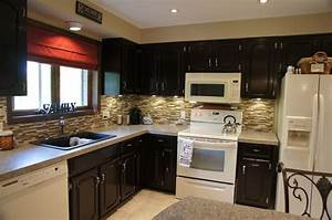 Black Color Staining Oak Kitchen Cabinets With White