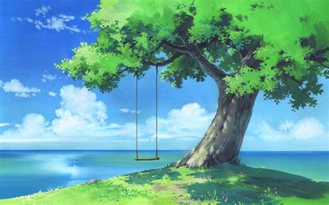 Tree Anime Wallpaper - tree swing wallpaper forest background in 2018
