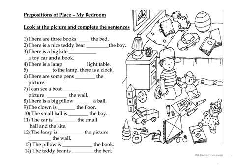 prepositions  place  bedroom english esl