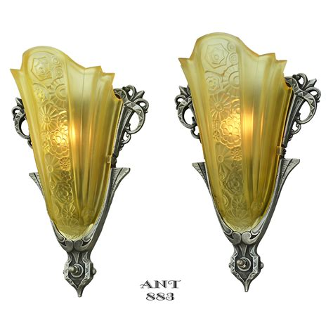 art deco antique sconces pair slip shade wall lights by