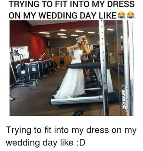 Wedding Dress Meme - trying to fit into my dress on my wedding day like afortafy trying to fit into my dress on my