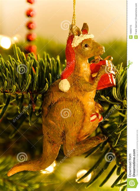 australian kangaroo christmas tree royalty  stock