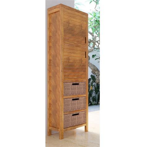 colonne de salle de bain teck bali 2 portes 3 tiroirs