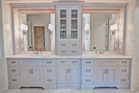 molding kitchen cabinets gorgeous vanity with center tower for storage 4266