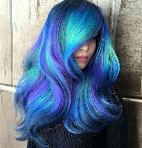 Blue Teal Purple Colour Colored Coloured Color Hair Style