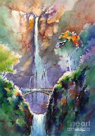 Summer Waterfall Watercolor Paintings