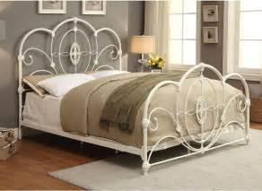king size bed frame white vintage metal style headboard footboard ebay