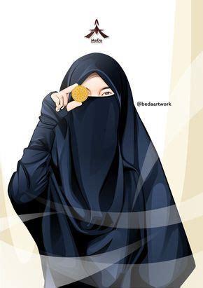 gambar kartun muslimah bercadar pakaian syari akhwat
