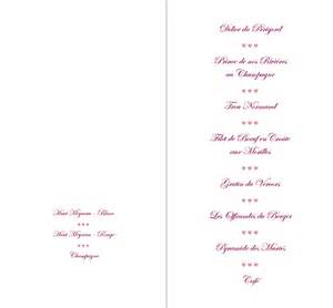 carte menu mariage mariage carte menu mariage