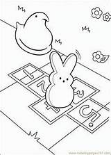 Coloring Pages Bunny Peeps Easter Hopscotch Marshmallow Printable Colouring sketch template
