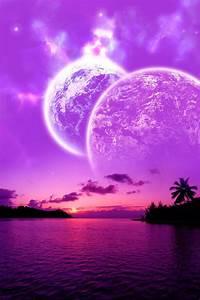 Beautiful Cosmic Sunset Purple Pink Ocean