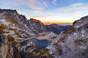 Landscape Mountains Of Rock Crystal Lake And Sunset