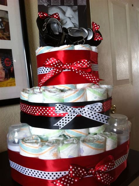 baby girl diaper cake red black minnie mouse diaper cake